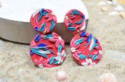 Kolorowe kolczyki kółka z kwiecistym wzorem