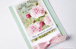 Kartka UNIWERSALNA miętowo-różowa