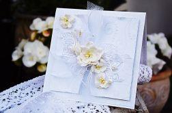 Klimatyczna kartka ślubna w bieli