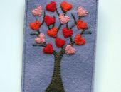 Filcowe etui na telefon z drzewkiem