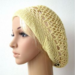 wiosenno-letni ażurowy beret jasnożółty