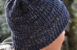 Ciepła melanżowa czapka wywijana -melanż w odcieniach niebieskiego!
