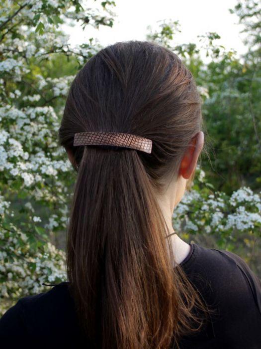 Kamień - miedziana klamra 200613-02 - Metalowa spinka do włosów