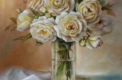 Róże w Wazonie, ręcznie malowany, olej