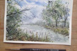 Obraz akwarela do salonu Rzeka pejzaż ozdoba