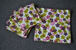 Podkładki pod kubki - pastelowe kwiatuszki