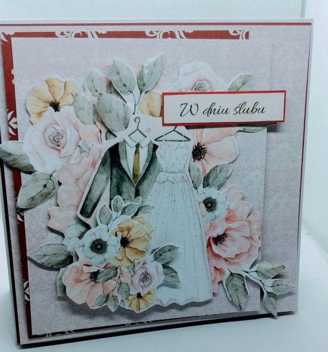 Kartka z napisem W dniu ślubu -