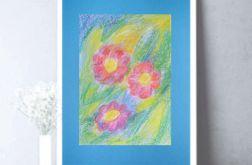 Rysunek z kwiatami na niebieskim tle nr 2