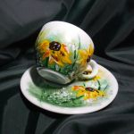 Filiżanka ręcznie malowana kwiaty słoneczniki - ręcznie malowane