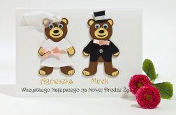 Kartka ślubna - Pluszowe Misie, Para Młoda
