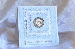 Zaproszenie na I Komunię Św. błękitne IHS