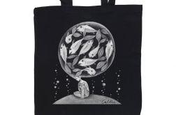 Ryby - torba z nadrukiem czarna
