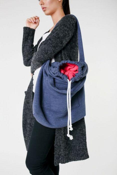 dzianinowa duża torba damska jeansowa