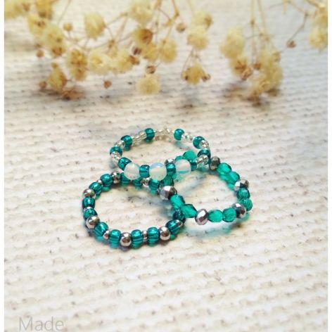 Zestaw 3 pierścionków-Firepolish i Opal
