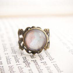 Retro pierścionek, malowane szkło - pastelowy
