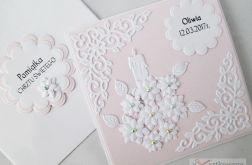 Kartka PAMIĄTKA CHRZTU z kwiatuszkami #1