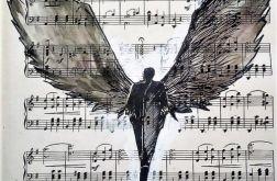 """""""Anioł jest dźwiękiem"""" akwarela"""