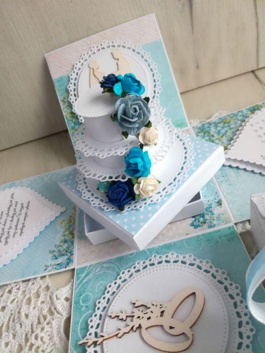 Exploding box ślub z tortem błękitny