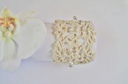 Bransoletka szydełkowa biało-złota 5