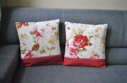 2 poszewki - malowane bordowe róże